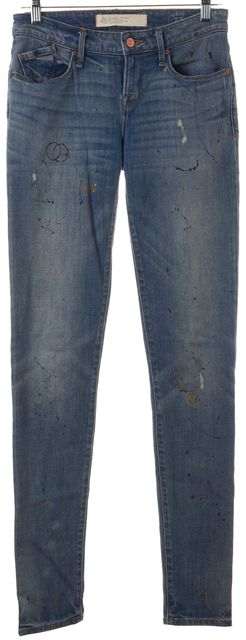 MARC BY MARC JACOBS Blue Distressed Splatter Paint Rolled Slim Fit Jeans