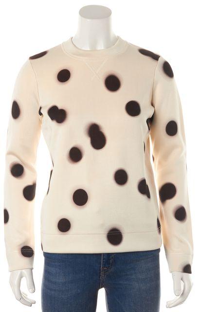 MARC BY MARC JACOBS Ivory Brown Polka Dot Long Sleeve Sweatshirt Top