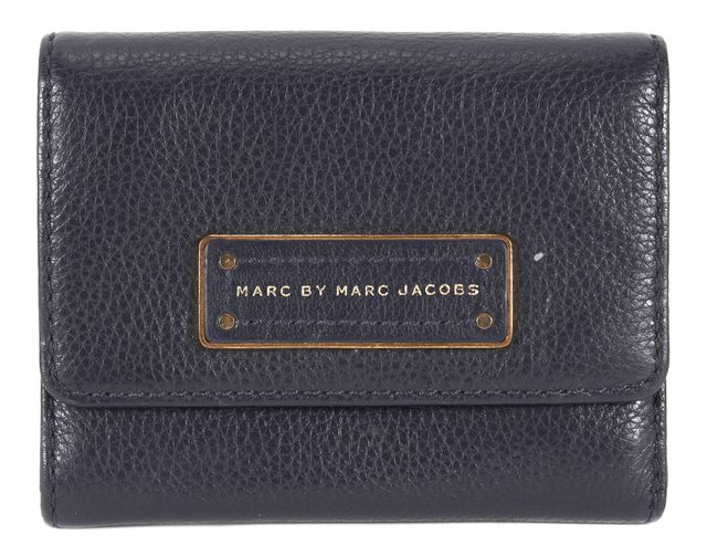 MARC BY MARC JACOBS Navy Blue Pebbled Leather Small Wallet