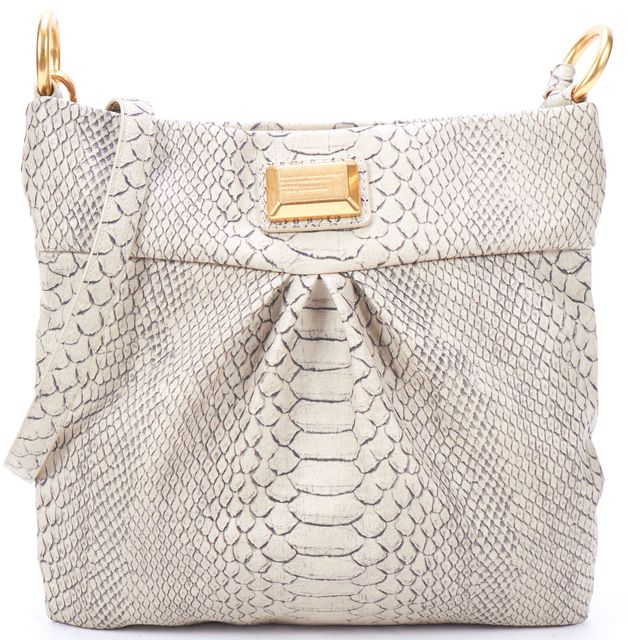 MARC BY MARC JACOBS Beige Snakeskin Embossed Gold Hardware Crossbody Bag