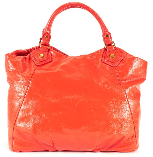 MARC BY MARC JACOBS Orange Patent Leather Gold Hardware Tote