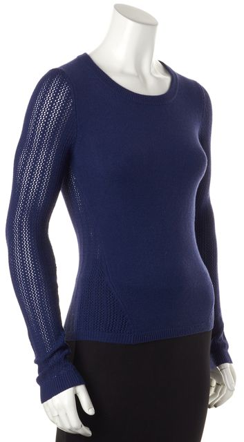 MARC BY MARC JACOBS Twilight Blue Perforated Crewneck Sweater