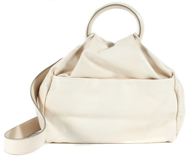 MARC BY MARC JACOBS Ivory Leather Silver Hardware Satchel Bag