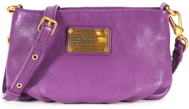 MARC BY MARC JACOBS Purple Leather Convertible Clutch Crossbody