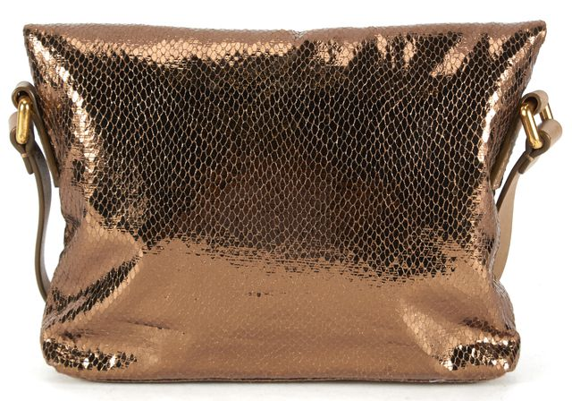 MARC BY MARC JACOBS Bronze Brown Snakeskin Embossed Leather Crossbody Bag