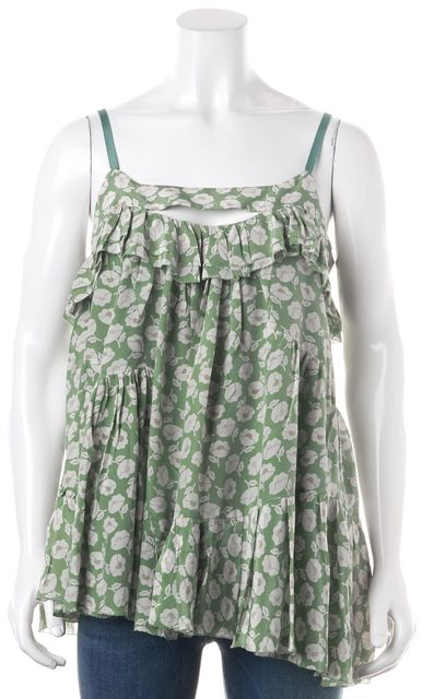 MARC BY MARC JACOBS Green White Floral Silk Ruffled Blouse Top