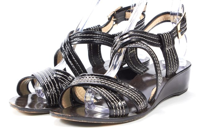 MARC BY MARC JACOBS Black White Patent Leather Mini Wedged Sandals