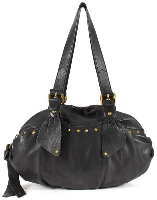 MARC BY MARC JACOBS Black Leather Stud Embellished Shoulder Bag