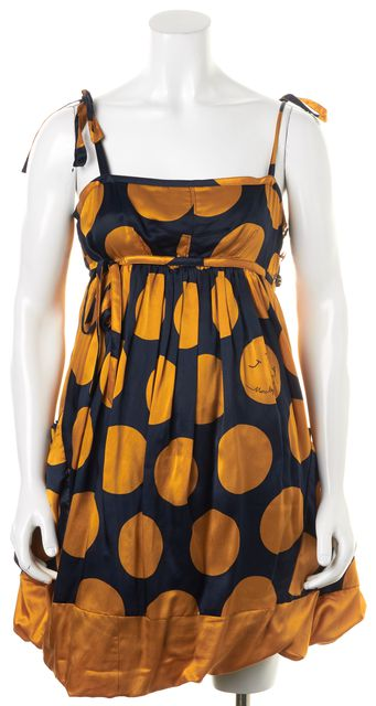 MARC BY MARC JACOBS Navy Blue Yellow Polka Dot Empire Waist Dress