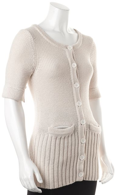 MARC BY MARC JACOBS Beige Wool Button Front Short Sleeve Cardigan Sweater