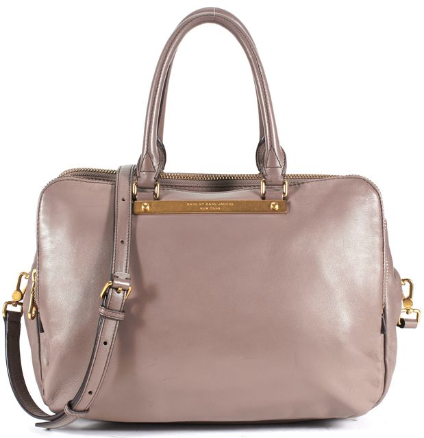 MARC BY MARC JACOBS Mauve Pink Leather Three Zip Gold Hardware Satchel