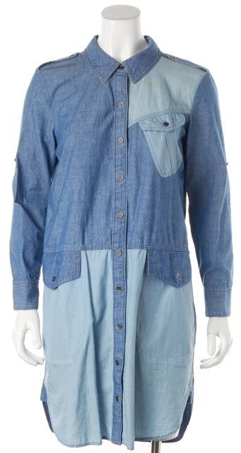 MARC BY MARC JACOBS Stormy Sky Blue Long Sleeve Denim Shirt Dress