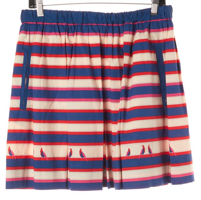 MARC BY MARC JACOBS Blue Red Striped Bird Print Skirt