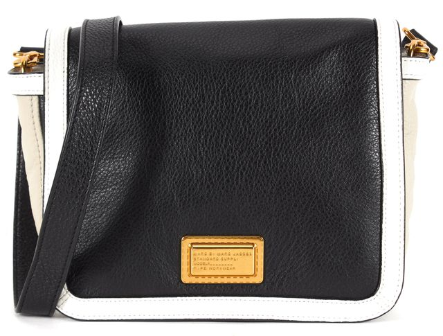 MARC BY MARC JACOBS Black White Gray Color Block Pebbled Leather Crossbody