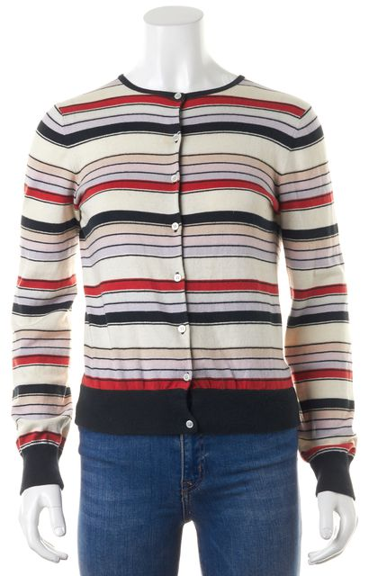 MARC BY MARC JACOBS White Blue Red Striped Button Down Cotton Cardigan