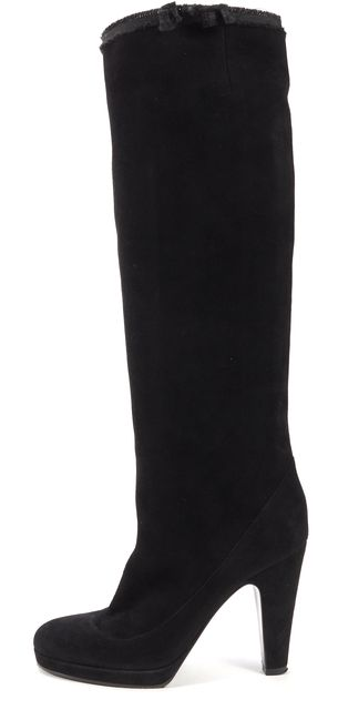 MARC BY MARC JACOBS Black Suede Leather Platform Knee-Light Boots