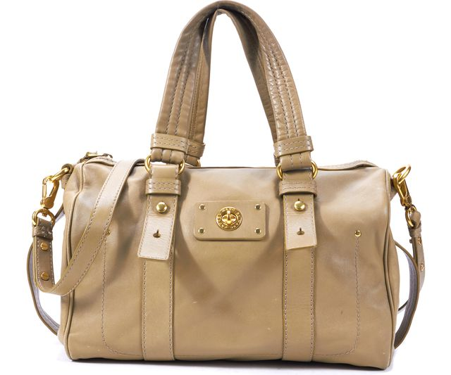 MARC BY MARC JACOBS Brown Genuine Leather Branded Canvas Satchel