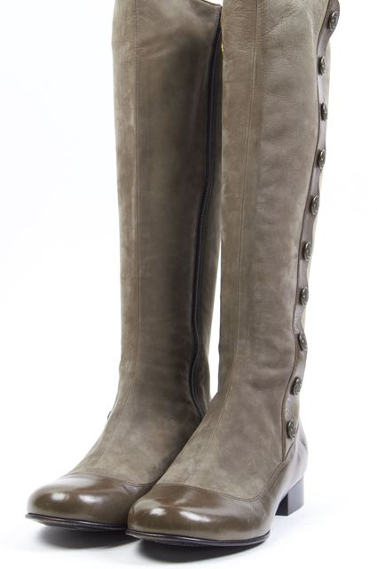 MARC BY MARC JACOBS Gray Button Embellished Suede Mid-Calf Boots