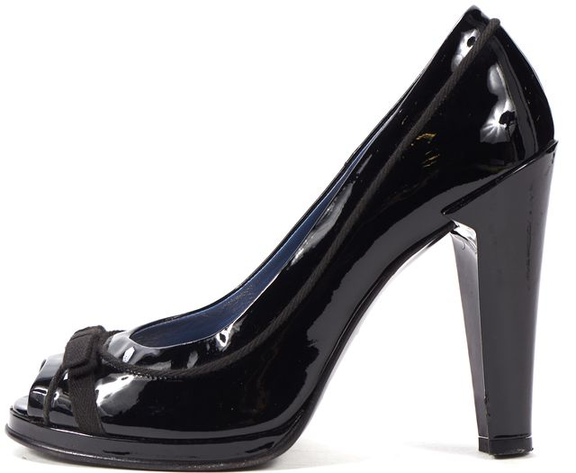 MARC BY MARC JACOBS Black Patent Leather Peep Toe Platform Heels