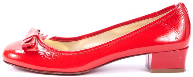MARC BY MARC JACOBS Red Patent Leather Bow Kitten Block Heels