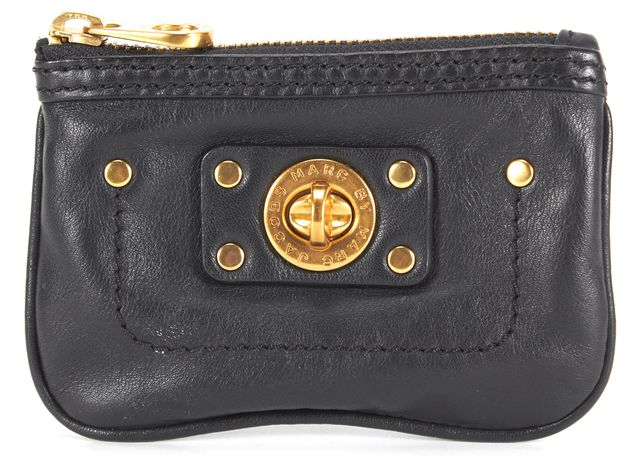 MARC BY MARC JACOBS Black Leather Gold Embellished Coin Purse Wallet
