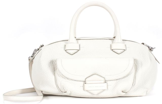 MARC BY MARC JACOBS Ivory Pebbled Leather Bowling Satchel