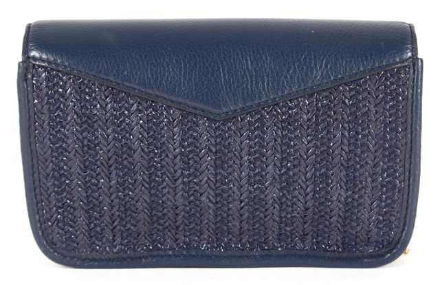 MARC BY MARC JACOBS Navy Blue Leather Woven Chain Strap Crossbody