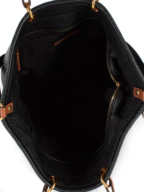 MARC BY MARC JACOBS Solid Black Pebbled Leather Gold-Tone Hardware Tote