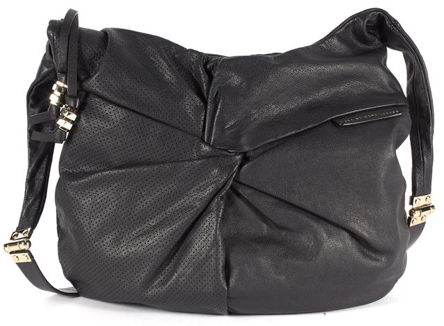 MARC BY MARC JACOBS Solid Black Perforated Buffalo Leather Twisted Shoulder Bag