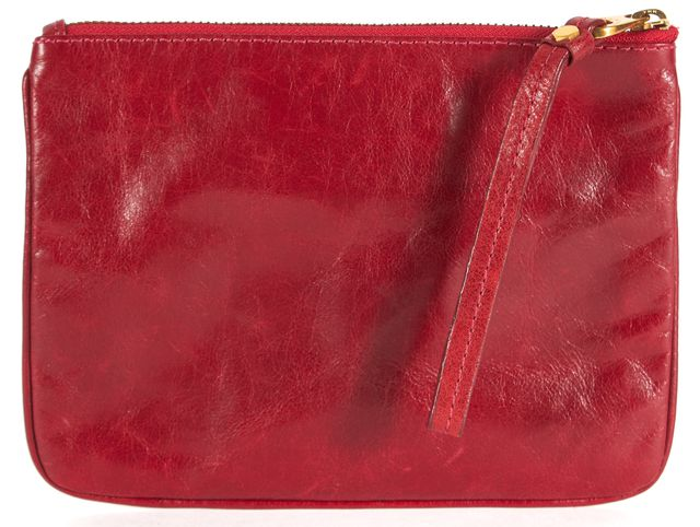 MARC BY MARC JACOBS Red Leather Gold-Tone Hardware Classic Q Wristlet