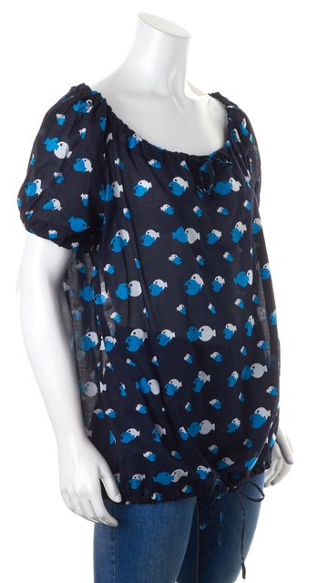 MARC BY MARC JACOBS Navy Blue White Fish Print Swimwear Cover Up Top XL