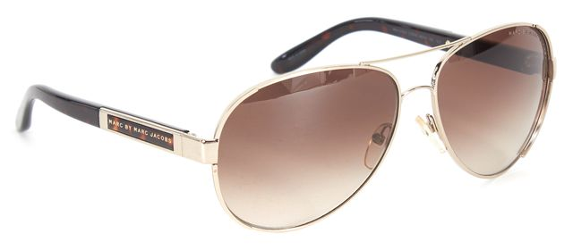 c4847d134ffb6 MARC BY MARC JACOBS Silver Brown Metal Aviator Sunglasses w  Case ...