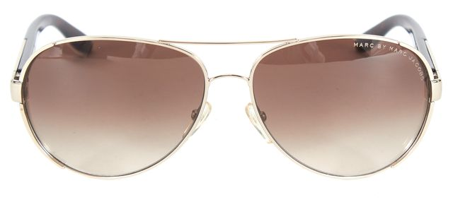 MARC BY MARC JACOBS Silver Brown Metal Aviator Sunglasses w/ Case
