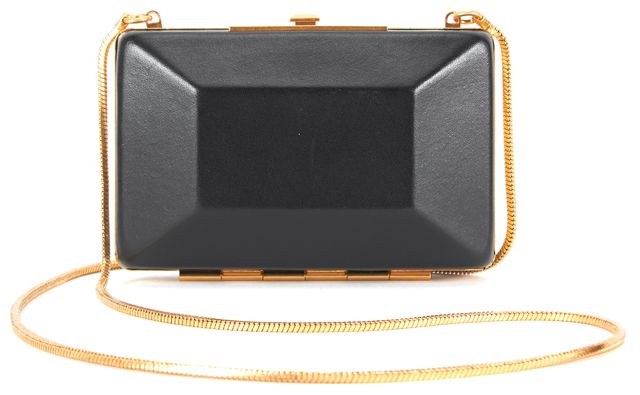 MARC BY MARC JACOBS Black Gray Leather Mini Box Evening Clutch Crossbody Bag