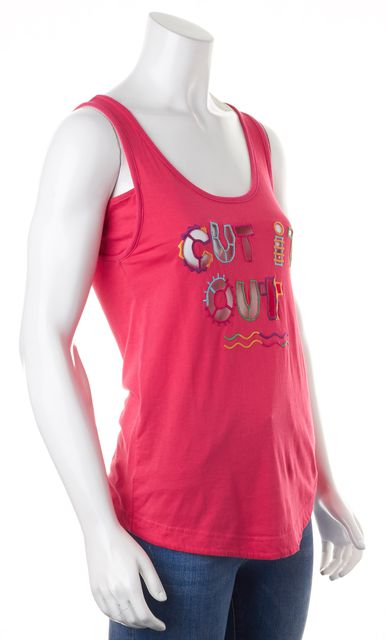 MARC BY MARC JACOBS Pink Graphic Sheer Cut Out Scoop Neck Tank Top
