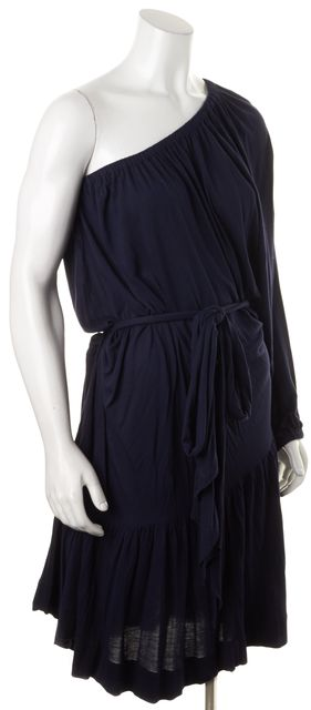 MARC BY MARC JACOBS Navy Blue Jersey Waist Tie One-Shoulder Blouson Dress