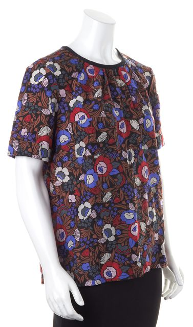 MARC BY MARC JACOBS Black Brown Red Purple Floral Print Blouse Top