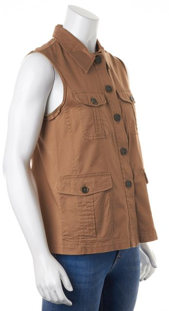 MARC BY MARC JACOBS Brown Sleeveless Patch Pocket Front Button Down Top