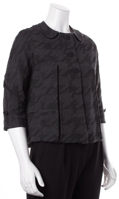 MARC BY MARC JACOBS Charcoal Gray Black Print Faux Pleats & Collar Jacket