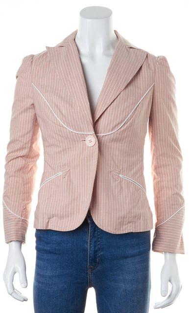 MARC BY MARC JACOBS Pink White Matellic Silver Pin Striped Blazer