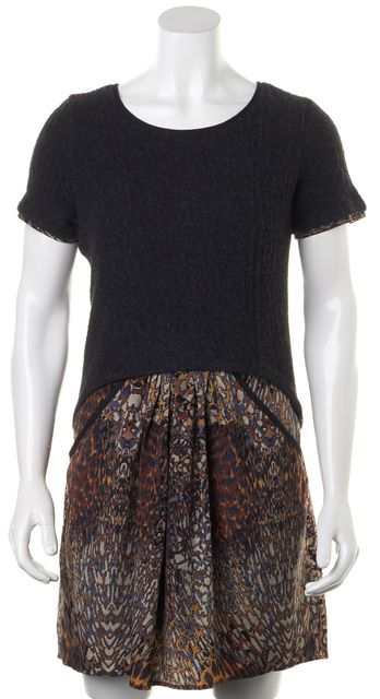 MARC BY MARC JACOBS Gray Brown Animal Print Silk Shift Dress