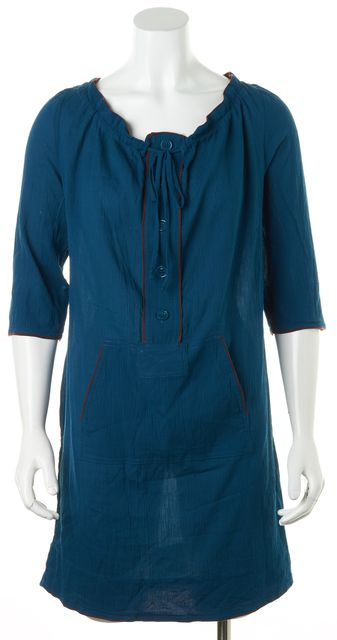 MARC BY MARC JACOBS Teal Blue Brown Cotton Above Knee Tunic Dress