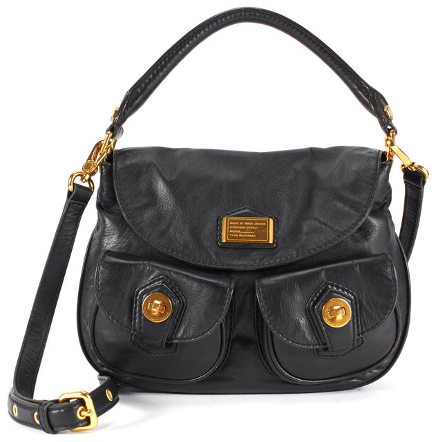 MARC BY MARC JACOBS Black Gold Hardware Leather Satchel