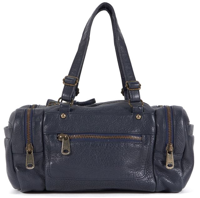 MARC BY MARC JACOBS Navy Blue Leather Double Zip Shoulder Bag