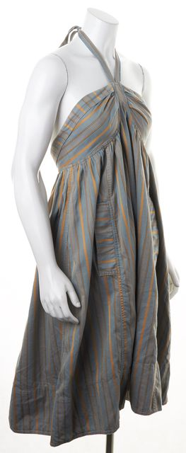 MARC BY MARC JACOBS Blue Gray Mustard Striped Halter Fit & Flare Dress