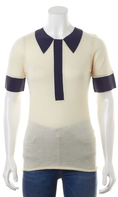 MARC BY MARC JACOBS Ivory Navy Cashmere Colorblock Short Sleeves Sweater