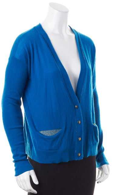 MARC BY MARC JACOBS Blue Gold Metallic Lined Cashmere Button Up Cardigan