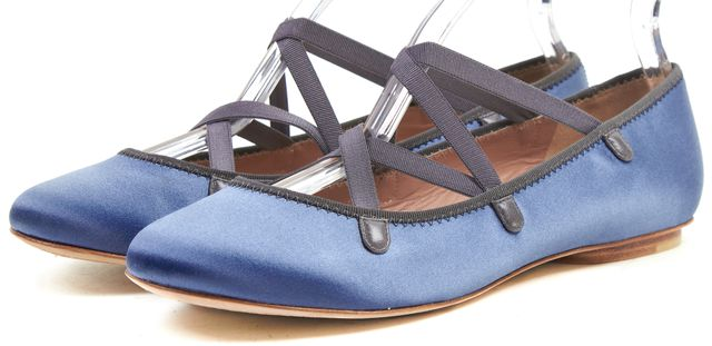MARC BY MARC JACOBS Blue Satin Elastic Detail Ballet Flats