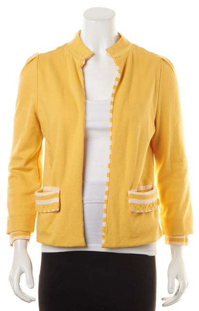 MARC BY MARC JACOBS Canary Yellow Striped Trim Knit Open Jacket