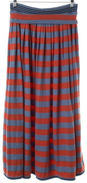 MARC BY MARC JACOBS Flamingo Orange Blue Striped Wool Full Skirt